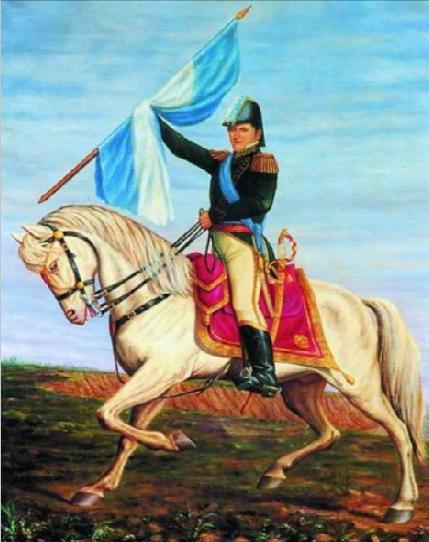GENERAL BELGRANO A CABALLO Y CON LA BANDERA