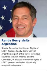 RANDY BERRY ENVIADO CONSULAR GAY que NO CONOCE AL ART. 19 DE LA CONSTITUCION ARGENTINA 1853