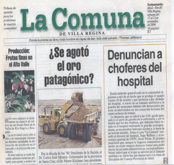 LA COMUNA DE REGINA ORO PATAGONICO