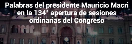 Primer Mensaje Del Presidente Macri 1 de Marzo de 2016