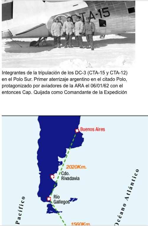 ARA DC-3 Tripulacion y la ruta al Polo Sur Geografico